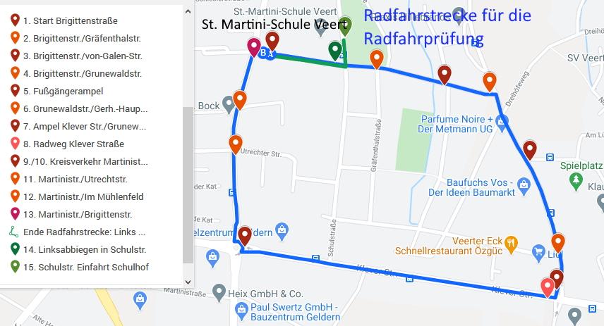 Radfahrstrecke online Grundschule Veert